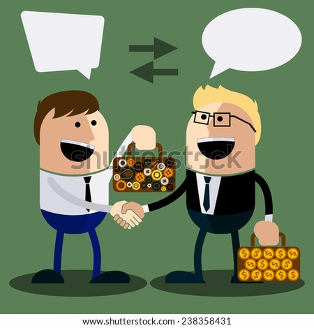 Happy business man make handshake sharing exchange case studies in which idea of invention and money cartoon flat design style. Raster version - stock photo