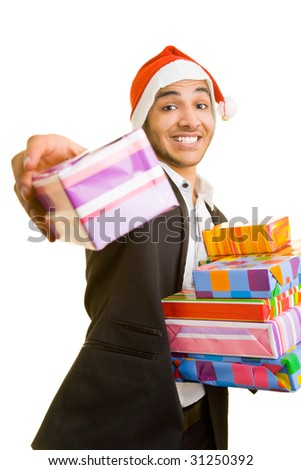 Happy business man offering gifts - stock photo