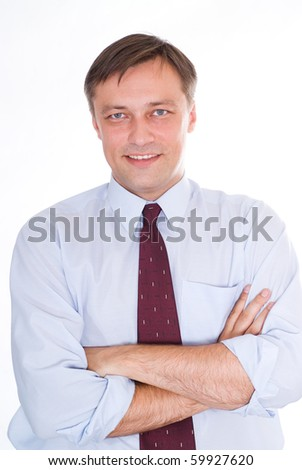 happy business man on a white - stock photo