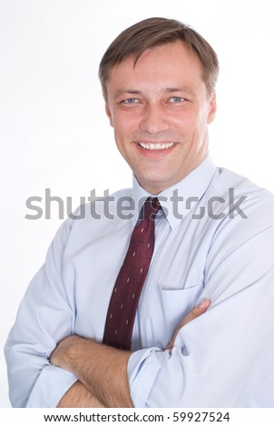 happy business man on a white background