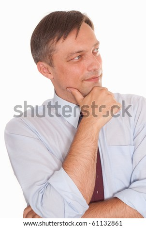 happy business man on a white background - stock photo