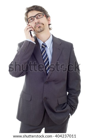 happy business man on the phone, isolated - stock photo