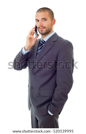 happy business man on the phone, isolated