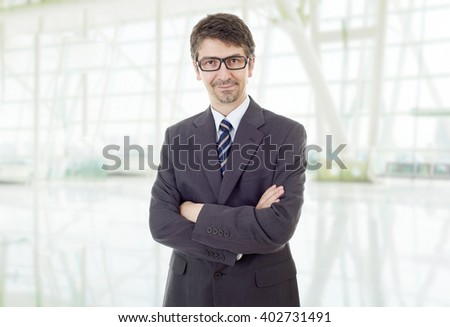 happy business man portrait at the office - stock photo