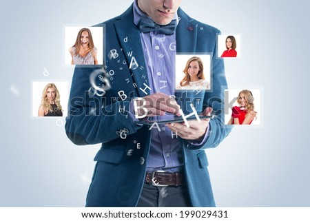 Happy business man receiving and sending message sms email. social media hightech concept. - stock photo