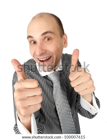 Happy business man showing thumbs up - stock photo