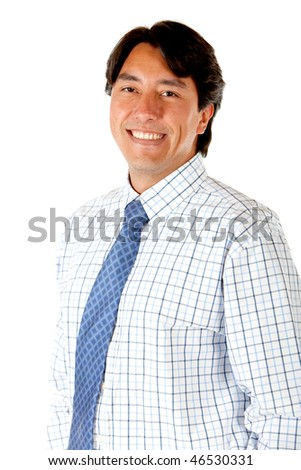 Happy business man smiling isolated over a white background - stock photo