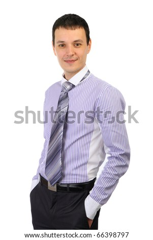 Happy business man smiling isolated over a white background