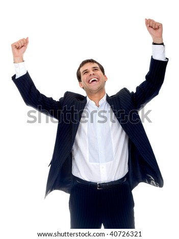 Happy business man with arms up isolated - stock photo