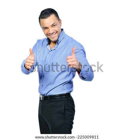 Happy business man with thumbs up gesture, isolated over white background - stock photo