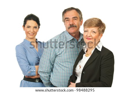 Happy business people group of mature and young people isolated on white background - stock photo