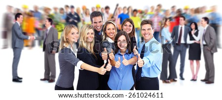 Happy business people group. Success and teamwork background. - stock photo