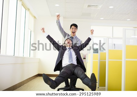 happy business people having fun in office - stock photo