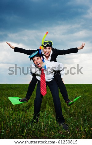 happy business people in scuba mask and flippers going to vacation - stock photo