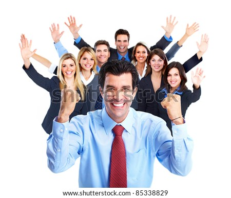 Happy business people. Isolated over white background - stock photo