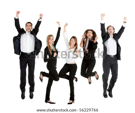 Happy business people jumping - isolated over a whte background - stock photo