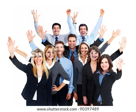 Happy Business people team. Isolated over white background.