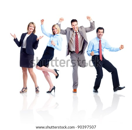 Happy Business people team. Isolated over white background. - stock photo