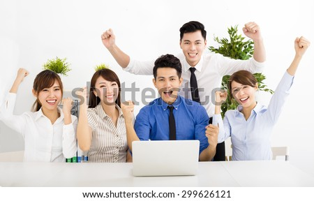 happy business people working together at  meeting - stock photo