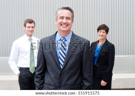 happy business team at the office - stock photo