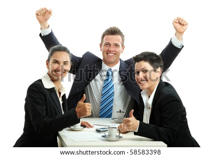 Happy business team celebrating business success at coffee table, isolated on white. - stock photo