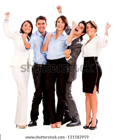 Happy business team celebrating with arms up - isolated over white - stock photo