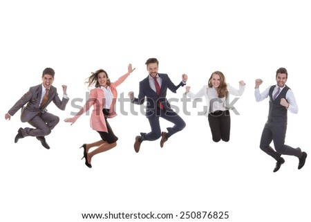 happy business team group jumping for success - stock photo