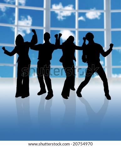 happy business team in a big window office - stock photo