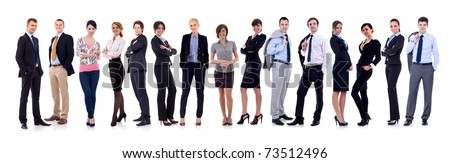 happy business team, isolated on white background - stock photo
