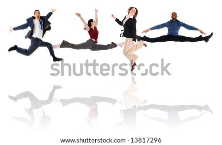 happy business team on an isolated white background - stock photo