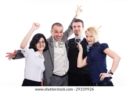 Happy business team on an isolated white background