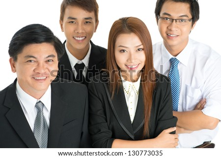 Happy business team on white background - stock photo