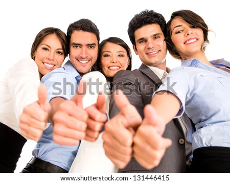 Happy business team with thumbs up - isolated over a white background - stock photo