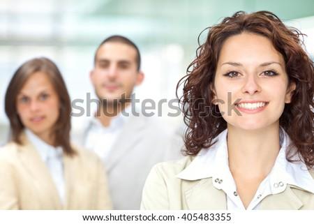 Happy business team work harmony - stock photo