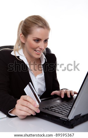 happy business woman buying on-line - stock photo