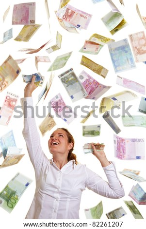 Happy business woman catching falling Euro money - stock photo