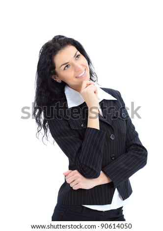 Happy business woman dreams about something - stock photo