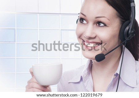 Happy business woman drinking coffee - stock photo
