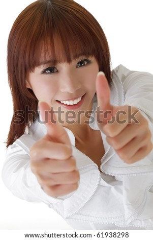 Happy business woman give double excellent gesture with smiling expression. - stock photo