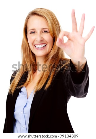 happy business woman hand gesture ok sign - stock photo