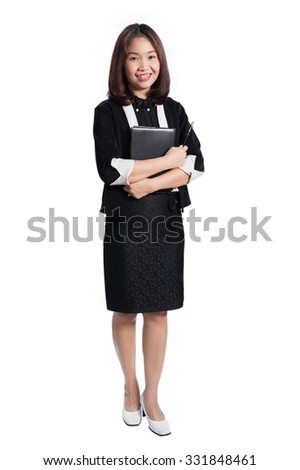 Happy business woman holding notebook and smiling  on white background