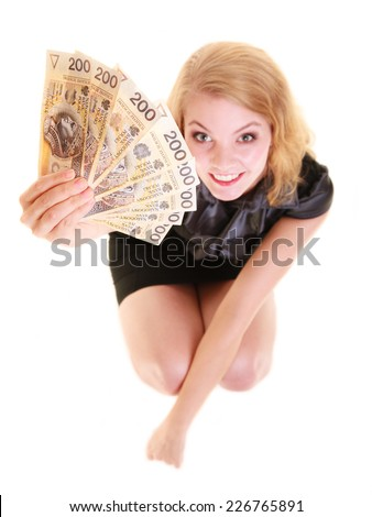 Happy business woman holding polish currency money banknote. Finance savings concept.