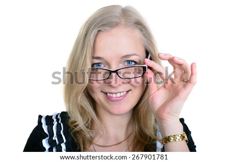 Happy business woman in glasses on the white background. 