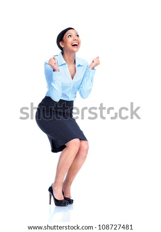 Happy business woman. Isolated on white background.