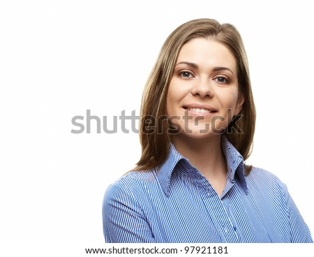 Happy business woman isolated on white background - stock photo