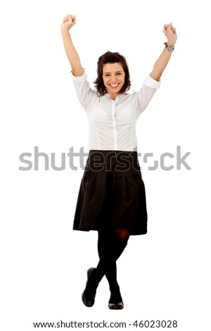 Happy business woman isolated over a white background
