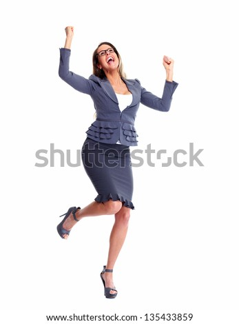 Happy Business woman. Isolated over white background. - stock photo