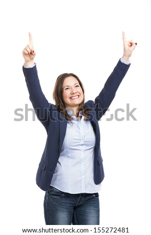 Happy business woman, isolated over white background - stock photo