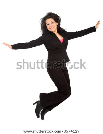 happy business woman jumping over a white background - stock photo