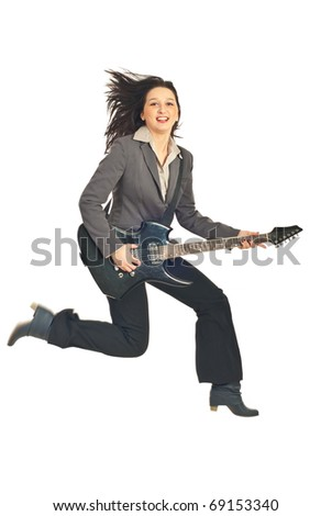 Happy business woman jumping with guitar isolated on white background